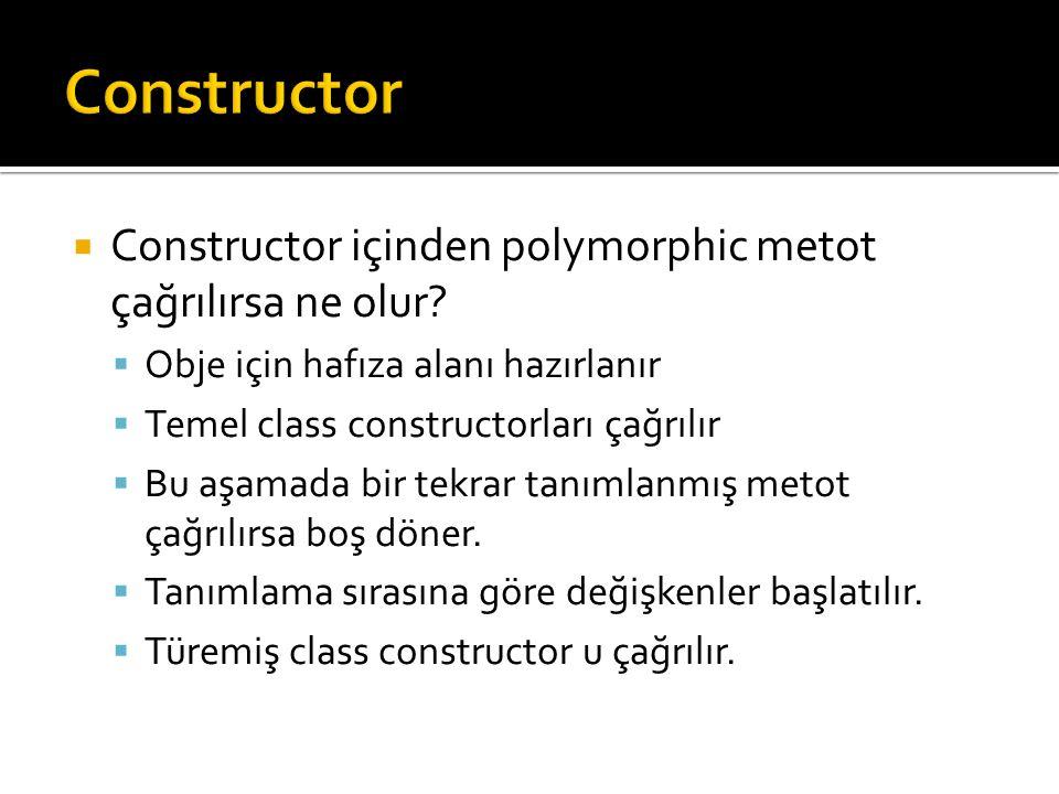  Constructor içinden polymorphic metot çağrılırsa ne olur.