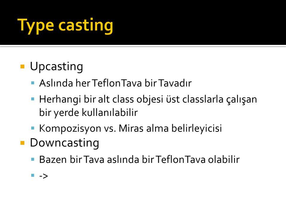  Upcasting  Aslında her TeflonTava bir Tavadır  Herhangi bir alt class objesi üst classlarla çalışan bir yerde kullanılabilir  Kompozisyon vs.