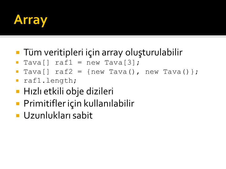  Tüm veritipleri için array oluşturulabilir  Tava[] raf1 = new Tava[3];  Tava[] raf2 = {new Tava(), new Tava()};  raf1.length;  Hızlı etkili obje