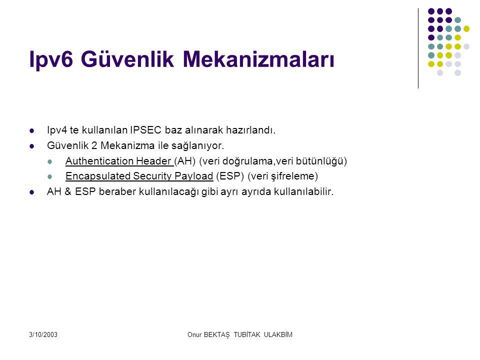 3/10/2003Onur BEKTAŞ TUBİTAK ULAKBİM Ipv6 Güvenlik Mekanizmaları Ipv4 te kullanılan IPSEC baz alınarak hazırlandı.