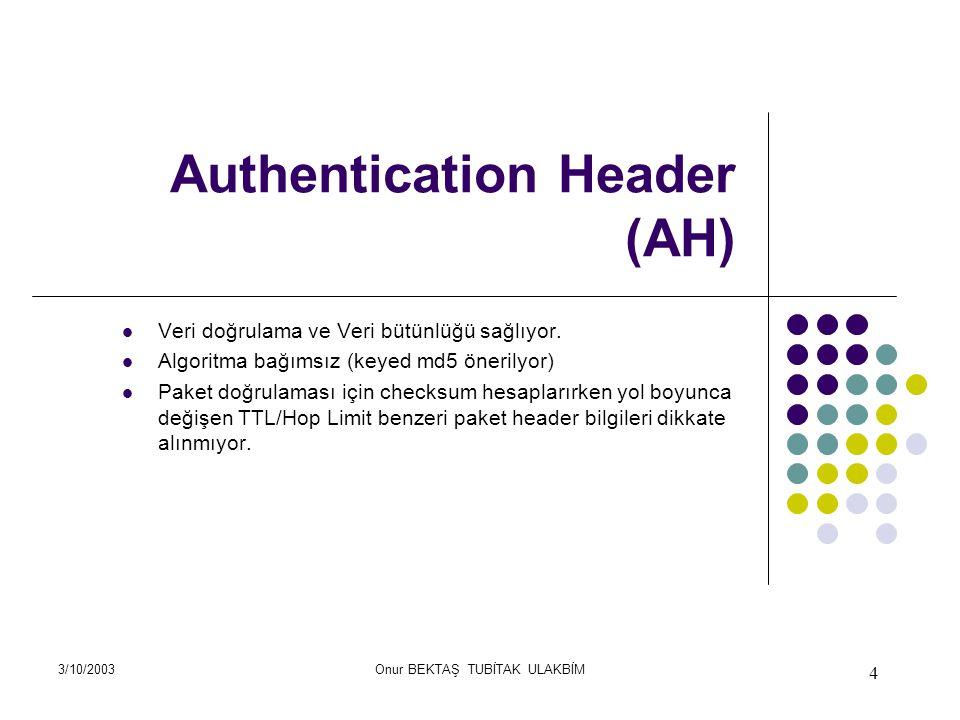 3/10/2003Onur BEKTAŞ TUBİTAK ULAKBİM 4 Authentication Header (AH) Veri doğrulama ve Veri bütünlüğü sağlıyor.
