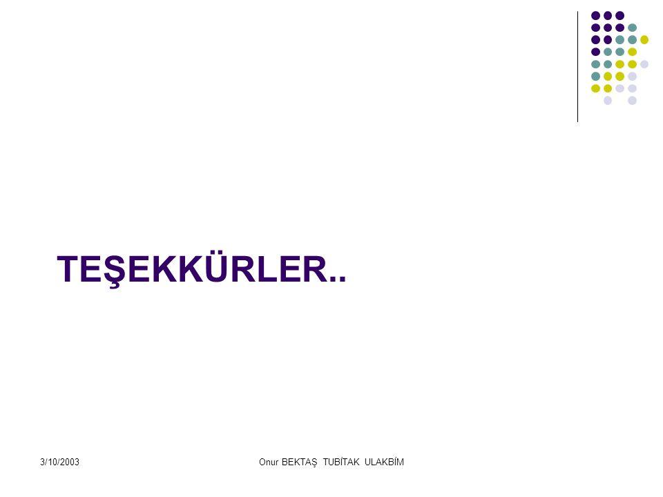 3/10/2003Onur BEKTAŞ TUBİTAK ULAKBİM TEŞEKKÜRLER..