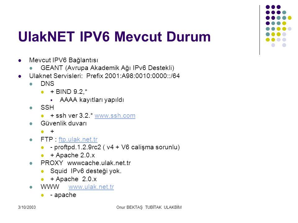 3/10/2003Onur BEKTAŞ TUBİTAK ULAKBİM Firewall DnsWeb Ftp Proxy Medya Suncusu İzmir İstanbul Ankara Ulakbim Yerel Kullanıcıları Geant