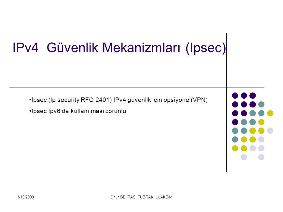 3/10/2003Onur BEKTAŞ TUBİTAK ULAKBİM IPv4 Güvenlik Mekanizmları (Ipsec) Ipsec (Ip security RFC 2401) IPv4 güvenlik için opsiyonel(VPN) Ipsec Ipv6 da kullanılması zorunlu