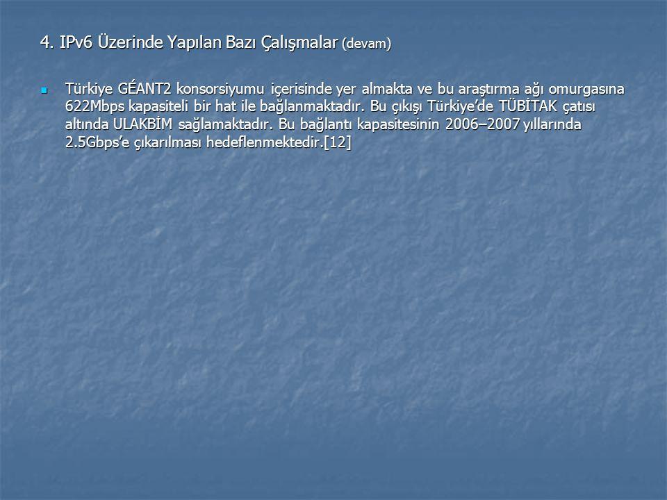 4. IPv6 Üzerinde Yapılan Bazı Çalışmalar (devam) Türkiye GÉANT2 konsorsiyumu içerisinde yer almakta ve bu araştırma ağı omurgasına 622Mbps kapasiteli
