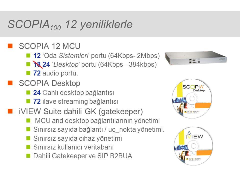 ® SCOPIA 400/1000 iVIEW Bundles iVIEW ilaveli Her iVIEW port ile 1 Canlı desktop bağlantısı 3 ilave streaming bağlantısı iVIEW Temel paketi ile (50 ports) 50 Canlı desktop bağlantısı 150 ilave streaming bağlantısı iVIEW ilave lisanslar (25 ports) 25 Canlı desktop lisansları 75 ilave streaming lisansları