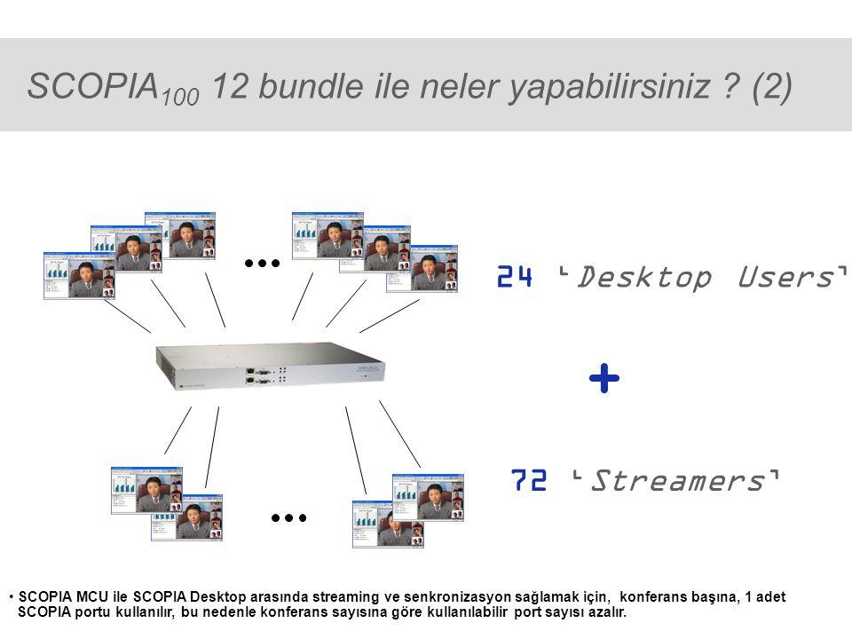 ® SCOPIA 400 48 sistemi ile neler yapılabilir? (2) 96 'Desktop Users' + 300 'Streamers'