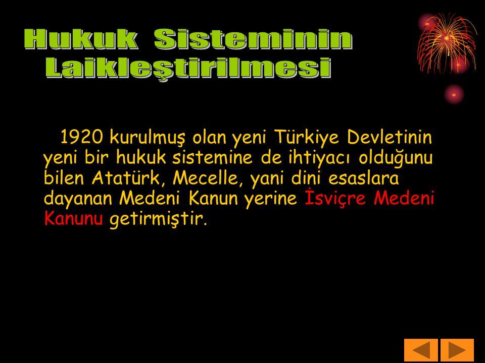 1920 kurulmuş olan yeni Türkiye Devletinin yeni bir hukuk sistemine de ihtiyacı olduğunu bilen Atatürk, Mecelle, yani dini esaslara dayanan Medeni Kan