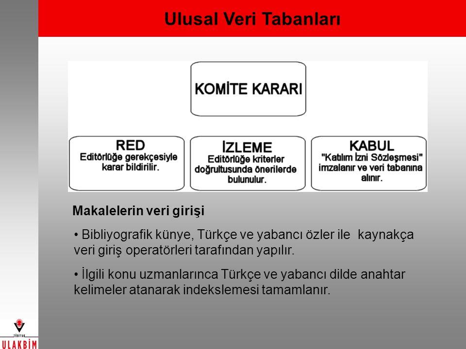 Ulusal Veri Tabanları Makalelerin veri girişi Bibliyografik künye, Türkçe ve yabancı özler ile kaynakça veri giriş operatörleri tarafından yapılır.