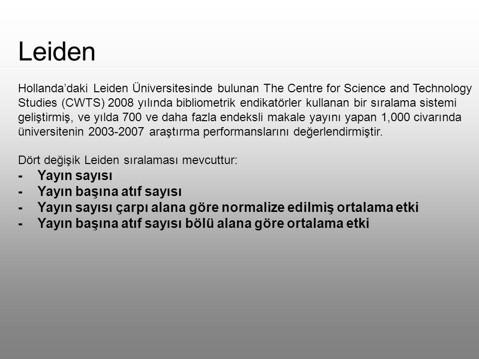 Leiden Hollanda'daki Leiden Üniversitesinde bulunan The Centre for Science and Technology Studies (CWTS) 2008 yılında bibliometrik endikatörler kullanan bir sıralama sistemi geliştirmiş, ve yılda 700 ve daha fazla endeksli makale yayını yapan 1,000 civarında üniversitenin 2003-2007 araştırma performanslarını değerlendirmiştir.