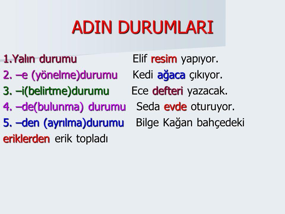ADIN DURUMLARI (İSMİN HÂLLERİ) Yukarıdaki metinde bazı kelimeler renkli yazılmıştır.Bu kelimeler cümle içinde diğer kelimelerle çeşitli anlam ilişkile