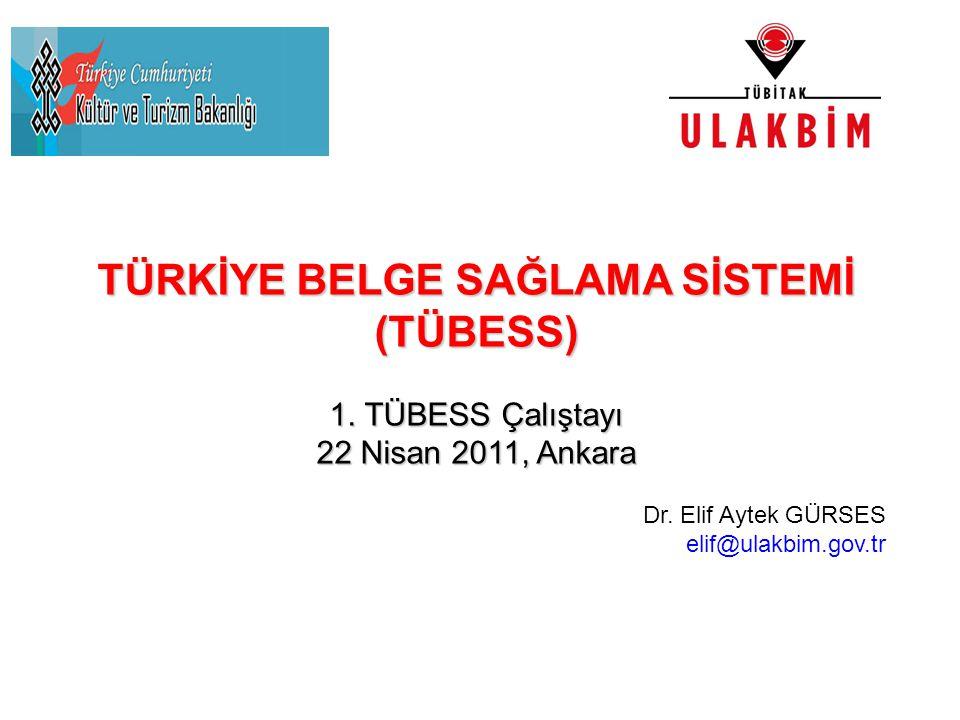 TÜRKİYE BELGE SAĞLAMA SİSTEMİ (TÜBESS) 1. TÜBESS Çalıştayı 22 Nisan 2011, Ankara Dr. Elif Aytek GÜRSES elif@ulakbim.gov.tr