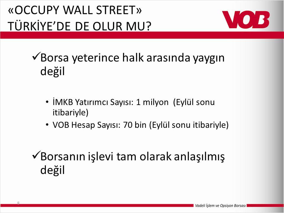 8 «OCCUPY WALL STREET» TÜRKİYE'DE DE OLUR MU? Borsa yeterince halk arasında yaygın değil İMKB Yatırımcı Sayısı: 1 milyon (Eylül sonu itibariyle) VOB H