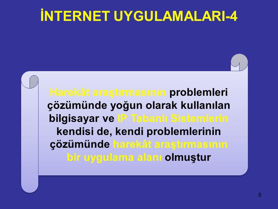 İNTERNET UYGULAMALARI-4 6 Harekât araştırmasının problemleri çözümünde yoğun olarak kullanılan bilgisayar ve IP Tabanlı Sistemlerin kendisi de, kendi problemlerinin çözümünde harekât araştırmasının bir uygulama alanı olmuştur