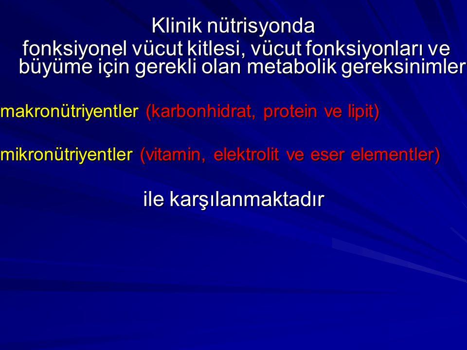 Klinik nütrisyonda fonksiyonel vücut kitlesi, vücut fonksiyonları ve büyüme için gerekli olan metabolik gereksinimler fonksiyonel vücut kitlesi, vücut fonksiyonları ve büyüme için gerekli olan metabolik gereksinimler makronütriyentler (karbonhidrat, protein ve lipit) mikronütriyentler (vitamin, elektrolit ve eser elementler) ile karşılanmaktadır