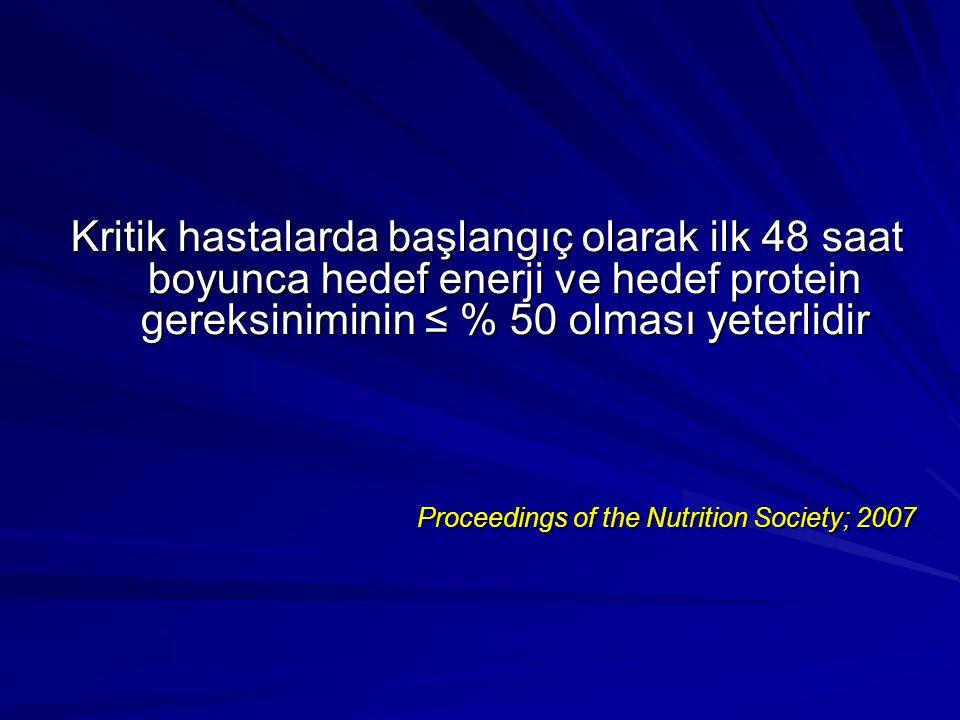 Kritik hastalarda başlangıç olarak ilk 48 saat boyunca hedef enerji ve hedef protein gereksiniminin ≤ % 50 olması yeterlidir Proceedings of the Nutrition Society; 2007