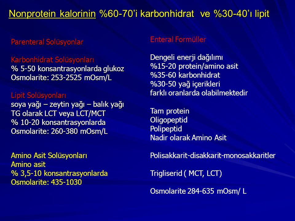 Nonprotein kalorinin %60-70'i karbonhidrat ve %30-40'ı lipit Enteral Formüller Dengeli enerji dağılımı %15-20 protein/amino asit %35-60 karbonhidrat %30-50 yağ içerikleri farklı oranlarda olabilmektedir Tam protein Oligopeptid Polipeptid Nadir olarak Amino Asit Polisakkarit-disakkarit-monosakkaritler Trigliserid ( MCT, LCT) Osmolarite 284-635 mOsm/ L Parenteral Solüsyonlar Karbonhidrat Solüsyonları % 5-50 konsantrasyonlarda glukoz Osmolarite: 253-2525 mOsm/L Lipit Solüsyonları soya yağı – zeytin yağı – balık yağı TG olarak LCT veya LCT/MCT % 10-20 konsantrasyonlarda Osmolarite: 260-380 mOsm/L Amino Asit Solüsyonları Amino asit % 3,5-10 konsantrasyonlarda Osmolarite: 435-1030