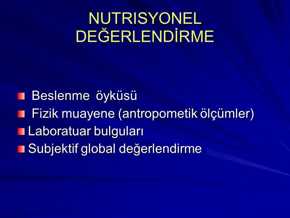 NUTRISYONEL DEĞERLENDİRME Beslenme öyküsü Beslenme öyküsü Fizik muayene (antropometik ölçümler) Fizik muayene (antropometik ölçümler) Laboratuar bulguları Subjektif global değerlendirme