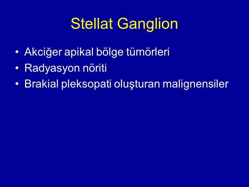 Stellat Ganglion Akciğer apikal bölge tümörleri Radyasyon nöriti Brakial pleksopati oluşturan malignensiler