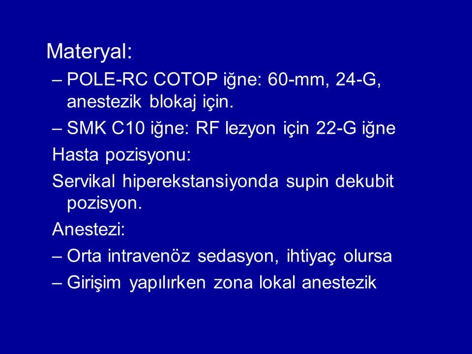 Materyal: –POLE-RC COTOP iğne: 60-mm, 24-G, anestezik blokaj için. –SMK C10 iğne: RF lezyon için 22-G iğne Hasta pozisyonu: Servikal hiperekstansiyond