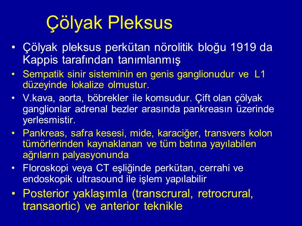 Çölyak Pleksus Çölyak pleksus perkütan nörolitik bloğu 1919 da Kappis tarafından tanımlanmış Sempatik sinir sisteminin en genis ganglionudur ve L1 düz