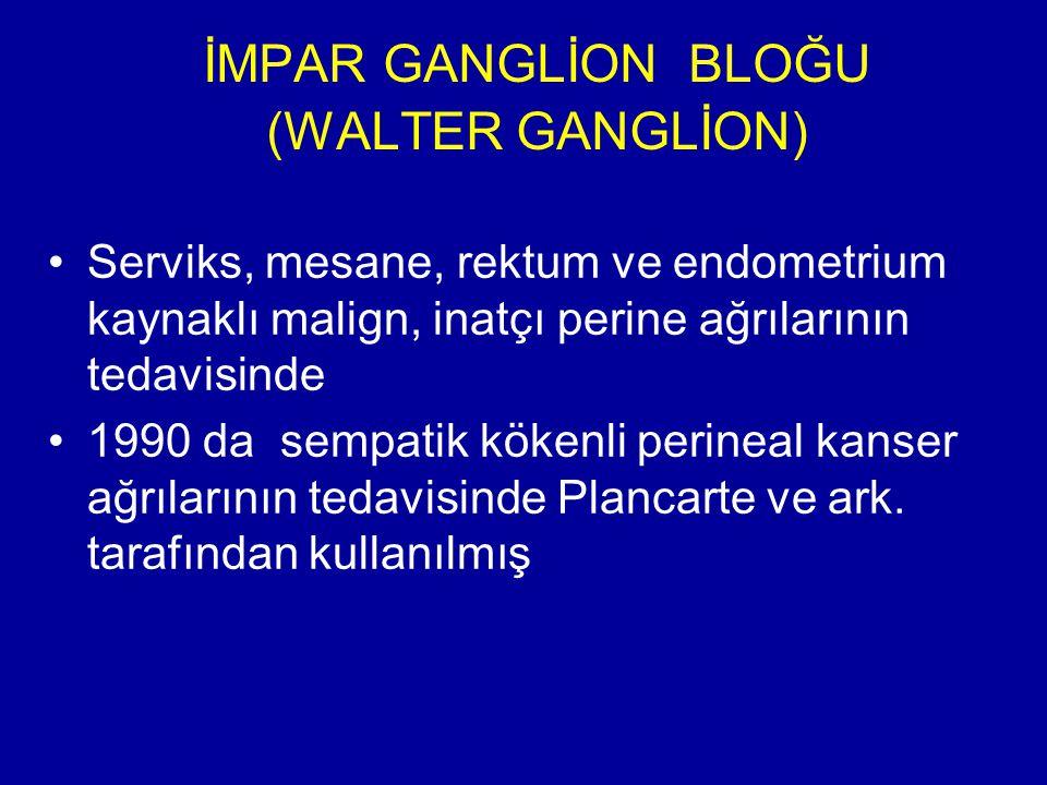 İMPAR GANGLİON BLOĞU (WALTER GANGLİON) Serviks, mesane, rektum ve endometrium kaynaklı malign, inatçı perine ağrılarının tedavisinde 1990 da sempatik