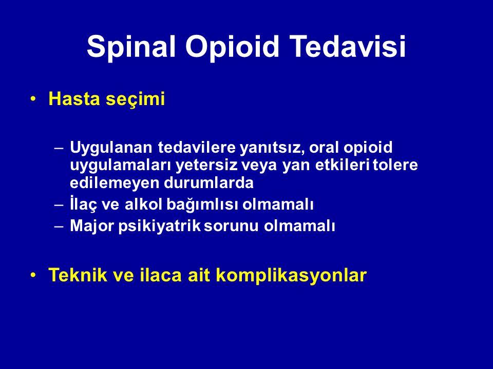 Spinal Opioid Tedavisi Hasta seçimi –Uygulanan tedavilere yanıtsız, oral opioid uygulamaları yetersiz veya yan etkileri tolere edilemeyen durumlarda –