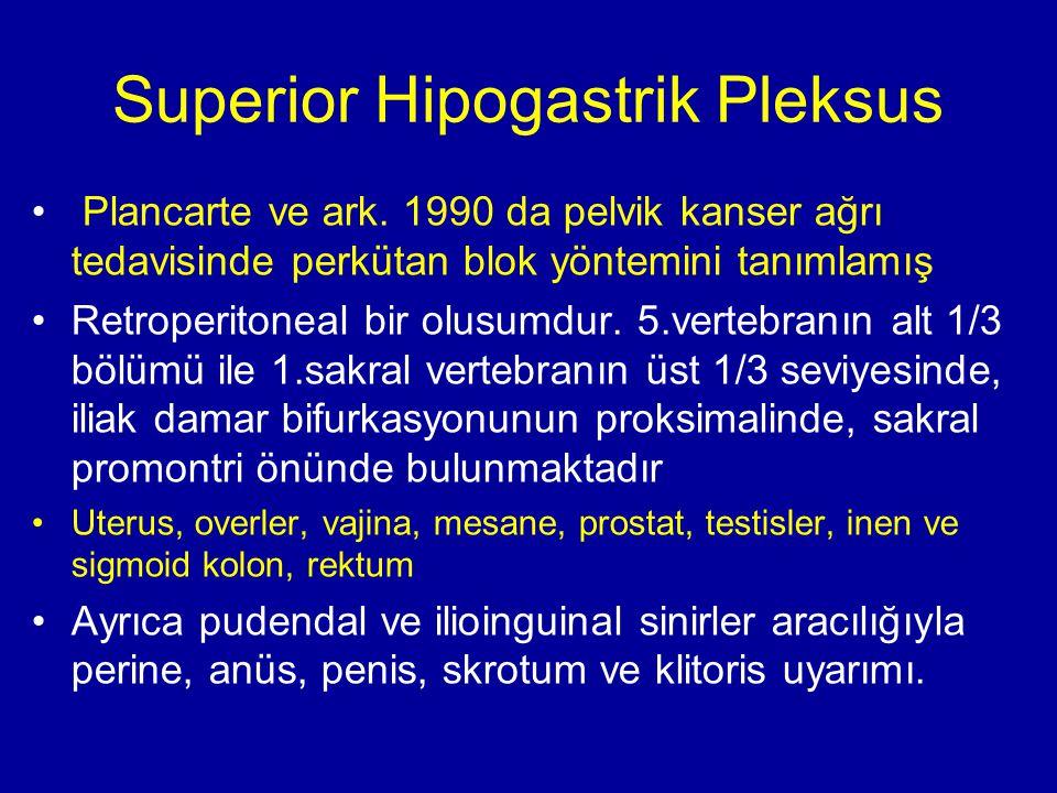 Superior Hipogastrik Pleksus Plancarte ve ark. 1990 da pelvik kanser ağrı tedavisinde perkütan blok yöntemini tanımlamış Retroperitoneal bir olusumdur