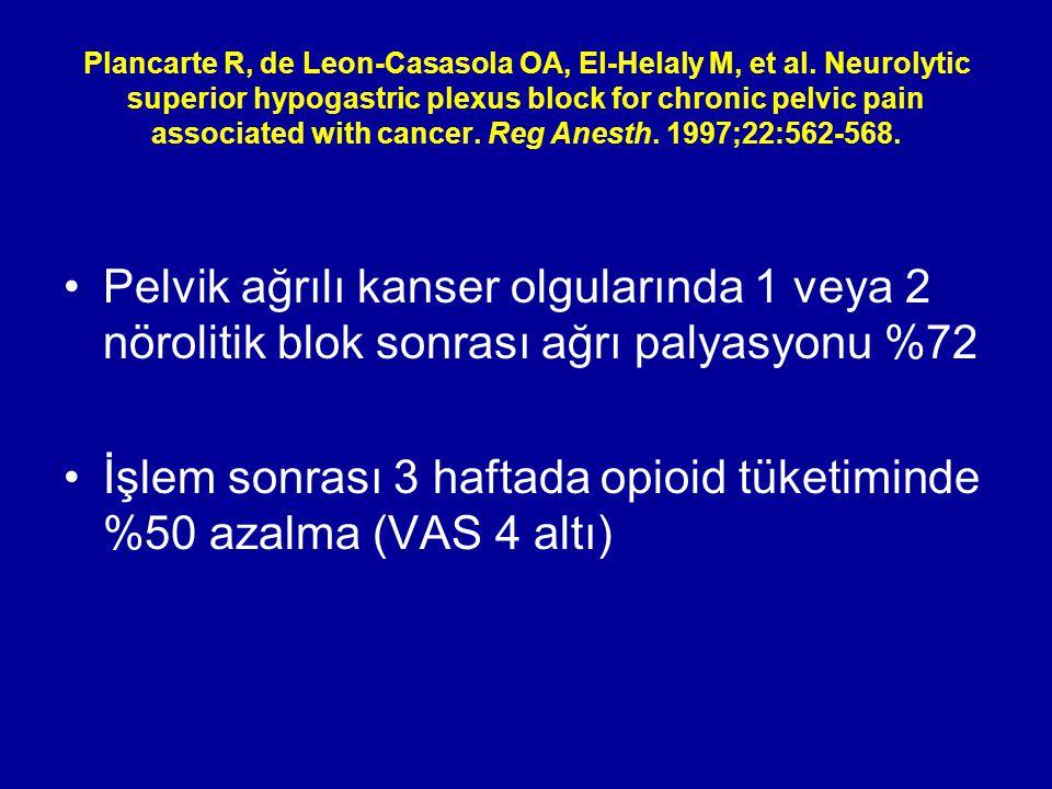 Plancarte R, de Leon-Casasola OA, El-Helaly M, et al. Neurolytic superior hypogastric plexus block for chronic pelvic pain associated with cancer. Reg