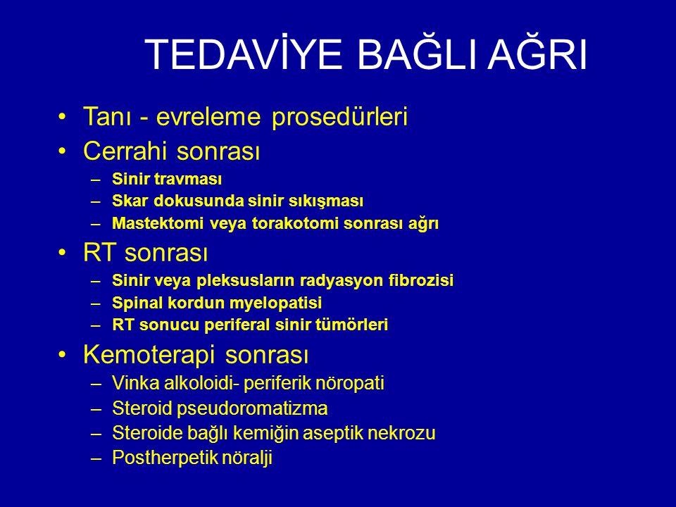 TEDAVİYE BAĞLI AĞRI Tanı - evreleme prosedürleri Cerrahi sonrası –Sinir travması –Skar dokusunda sinir sıkışması –Mastektomi veya torakotomi sonrası a