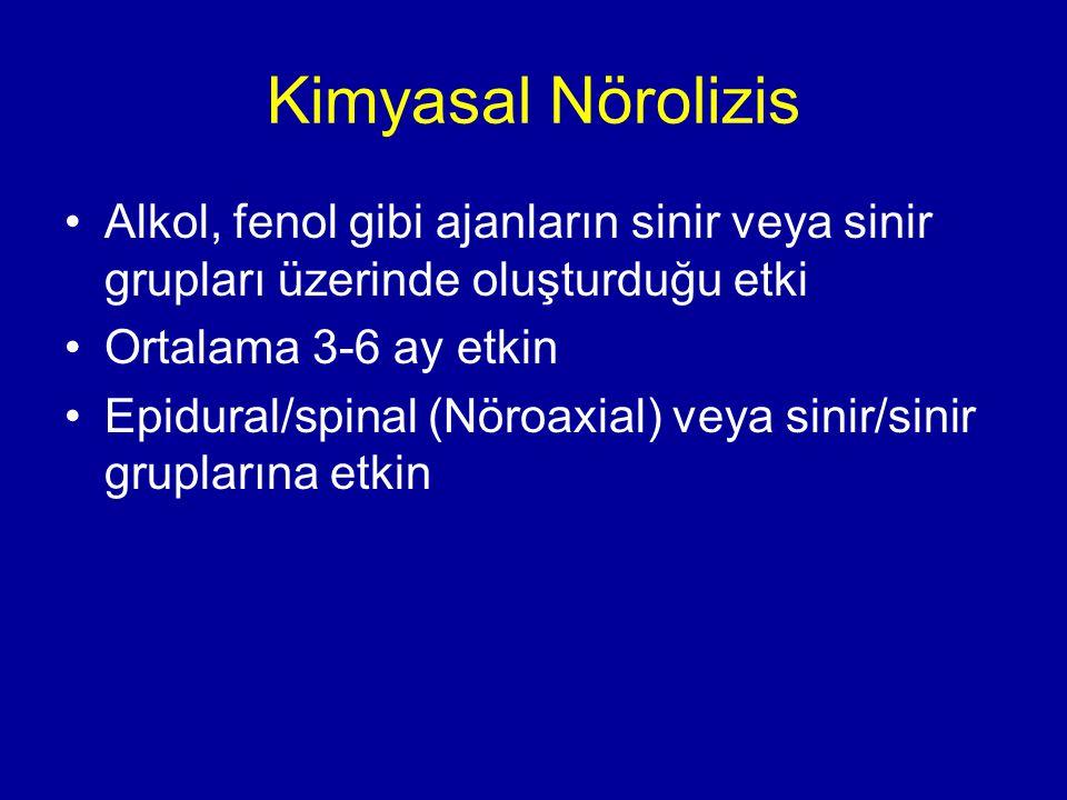 Kimyasal Nörolizis Alkol, fenol gibi ajanların sinir veya sinir grupları üzerinde oluşturduğu etki Ortalama 3-6 ay etkin Epidural/spinal (Nöroaxial) v