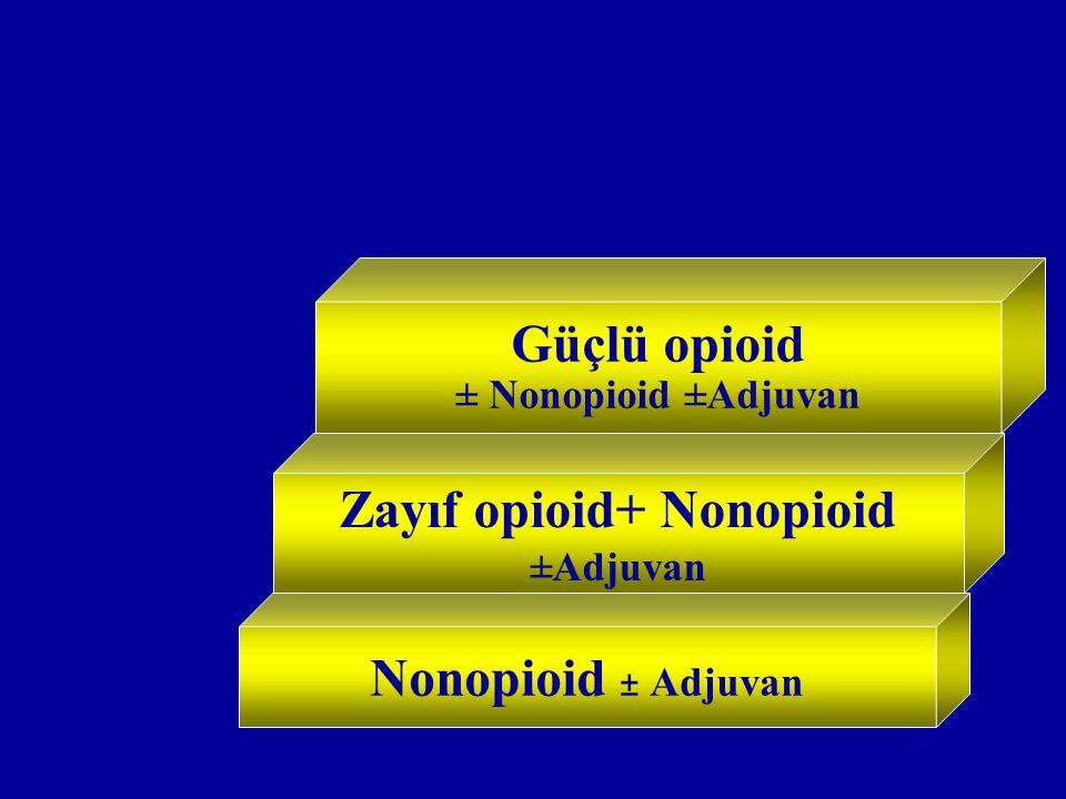 Nonopioid ± Adjuvan Güçlü opioid ± Nonopioid ±Adjuvan Zayıf opioid+ Nonopioid ±Adjuvan