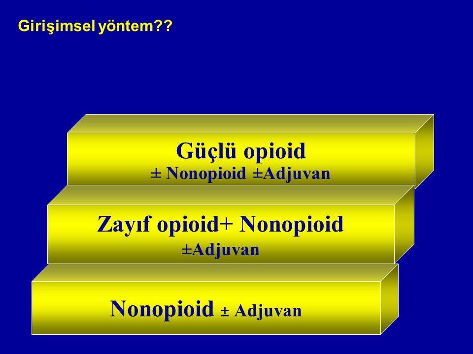 Nonopioid ± Adjuvan Güçlü opioid ± Nonopioid ±Adjuvan Zayıf opioid+ Nonopioid ±Adjuvan Girişimsel yöntem??