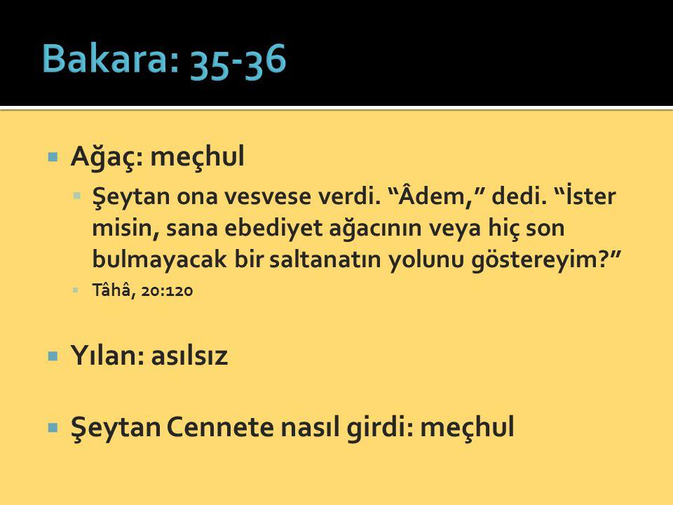  Ağaç: meçhul  Şeytan ona vesvese verdi. Âdem, dedi.
