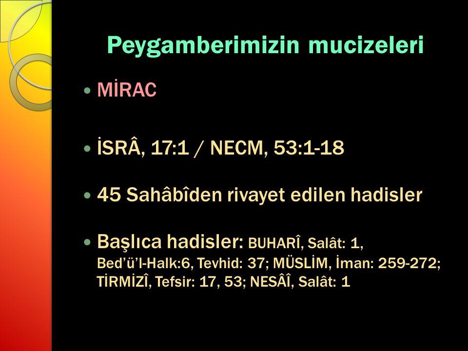 Peygamberimizin mucizeleri MİRAC İSRÂ, 17:1 / NECM, 53:1-18 45 Sahâbîden rivayet edilen hadisler Başlıca hadisler: BUHARÎ, Salât: 1, Bed'ü'l-Halk:6, T