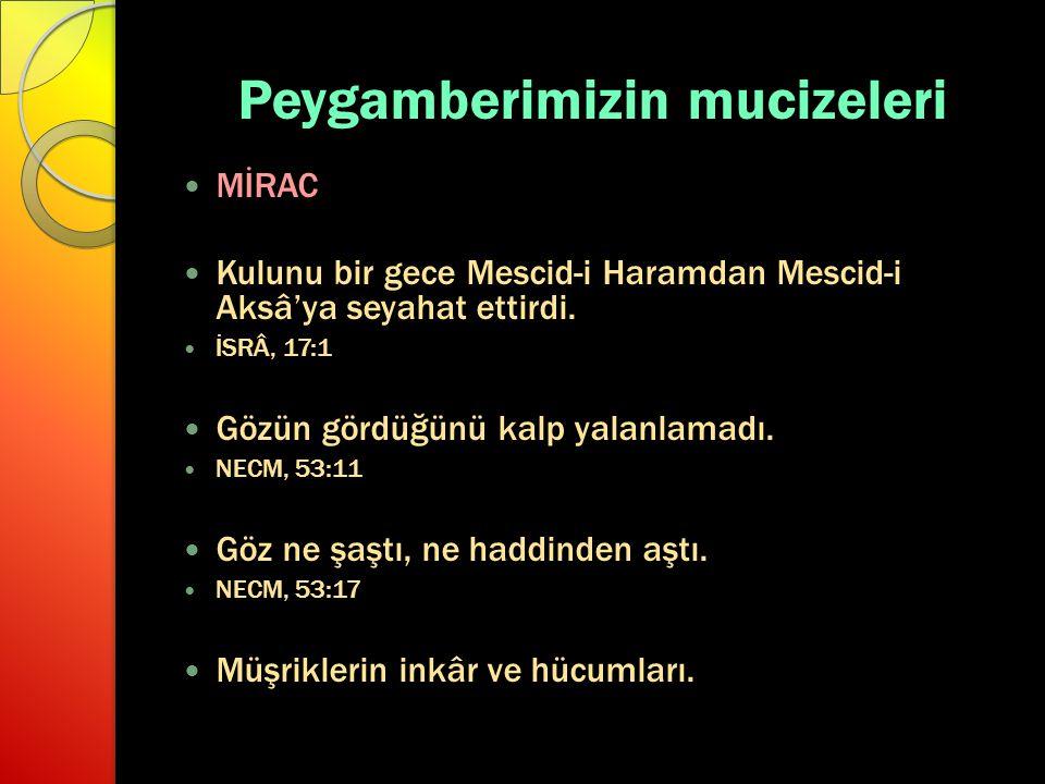 Peygamberimizin mucizeleri MİRAC Kulunu bir gece Mescid-i Haramdan Mescid-i Aksâ'ya seyahat ettirdi. İSRÂ, 17:1 Gözün gördüğünü kalp yalanlamadı. NECM