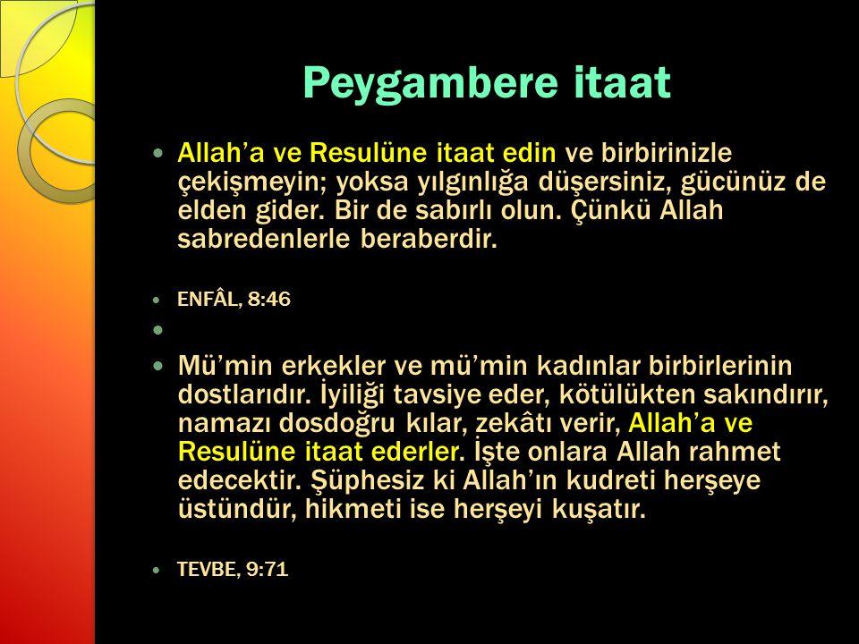 Peygambere itaat Allah'a ve Resulüne itaat edin ve birbirinizle çekişmeyin; yoksa yılgınlığa düşersiniz, gücünüz de elden gider. Bir de sabırlı olun.