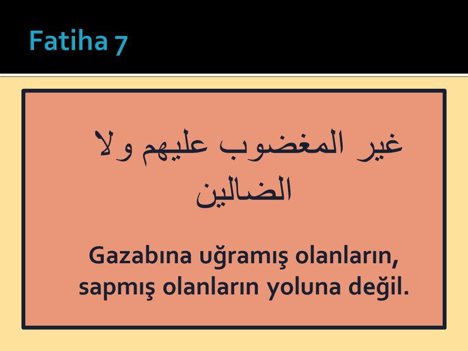 غير المغضوب عليهم ولا الضالين Gazabına uğramış olanların, sapmış olanların yoluna değil.