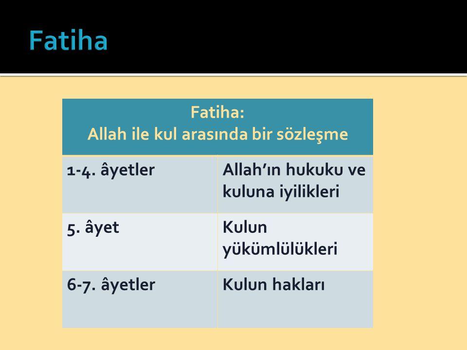 Fatiha: Allah ile kul arasında bir sözleşme 1-4. âyetlerAllah'ın hukuku ve kuluna iyilikleri 5. âyetKulun yükümlülükleri 6-7. âyetlerKulun hakları