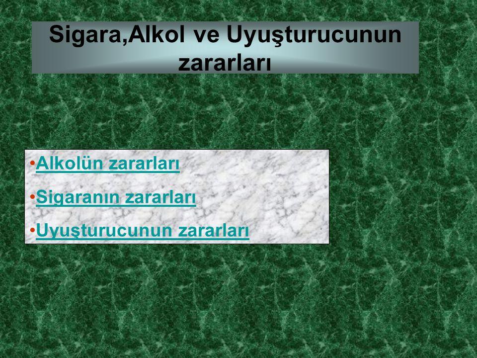 Sigara,Alkol ve Uyuşturucunun zararları Alkolün zararları Sigaranın zararları Uyuşturucunun zararları