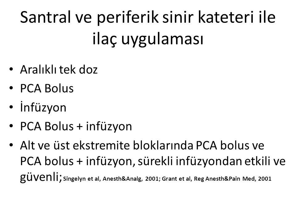 Santral ve periferik sinir kateteri ile ilaç uygulaması Aralıklı tek doz PCA Bolus İnfüzyon PCA Bolus + infüzyon Alt ve üst ekstremite bloklarında PCA bolus ve PCA bolus + infüzyon, sürekli infüzyondan etkili ve güvenli; Singelyn et al, Anesth&Analg, 2001; Grant et al, Reg Anesth&Pain Med, 2001