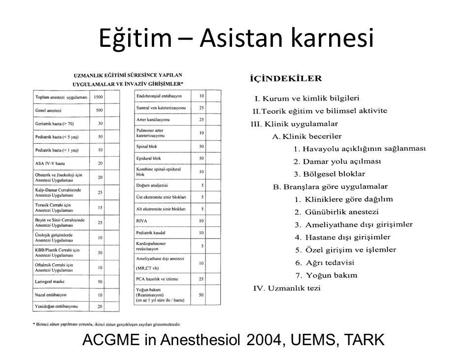 Eğitim – Asistan karnesi ACGME in Anesthesiol 2004, UEMS, TARK
