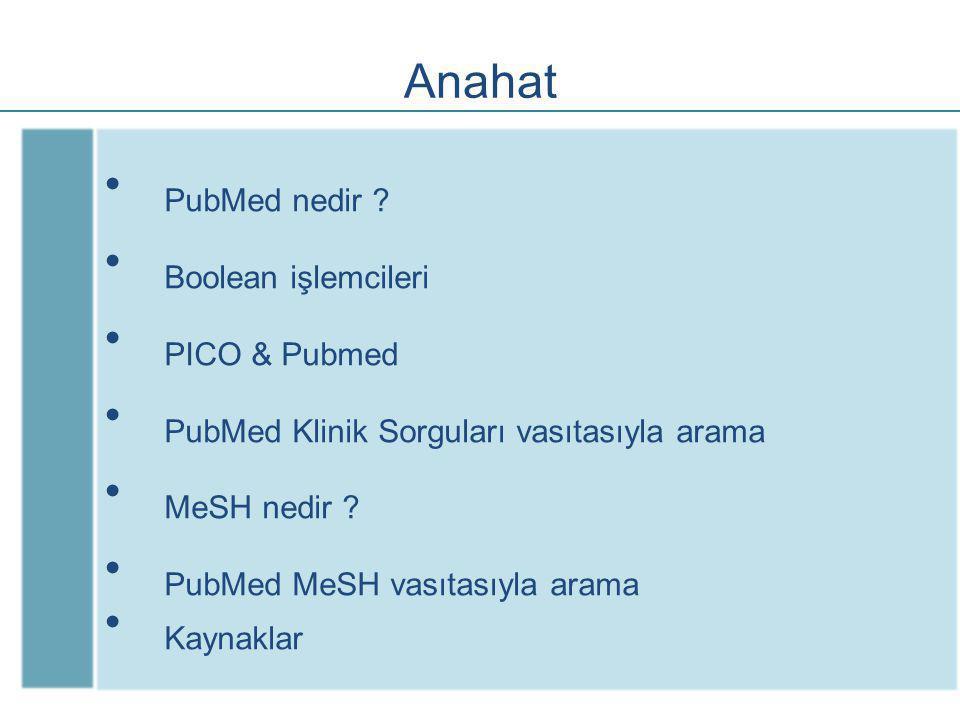Hedefler Hekiminin PubMed ile tanıştırılması Sistematik derlemelerin aranması Arama terimlerinin birleştirilmesi MeSH araması