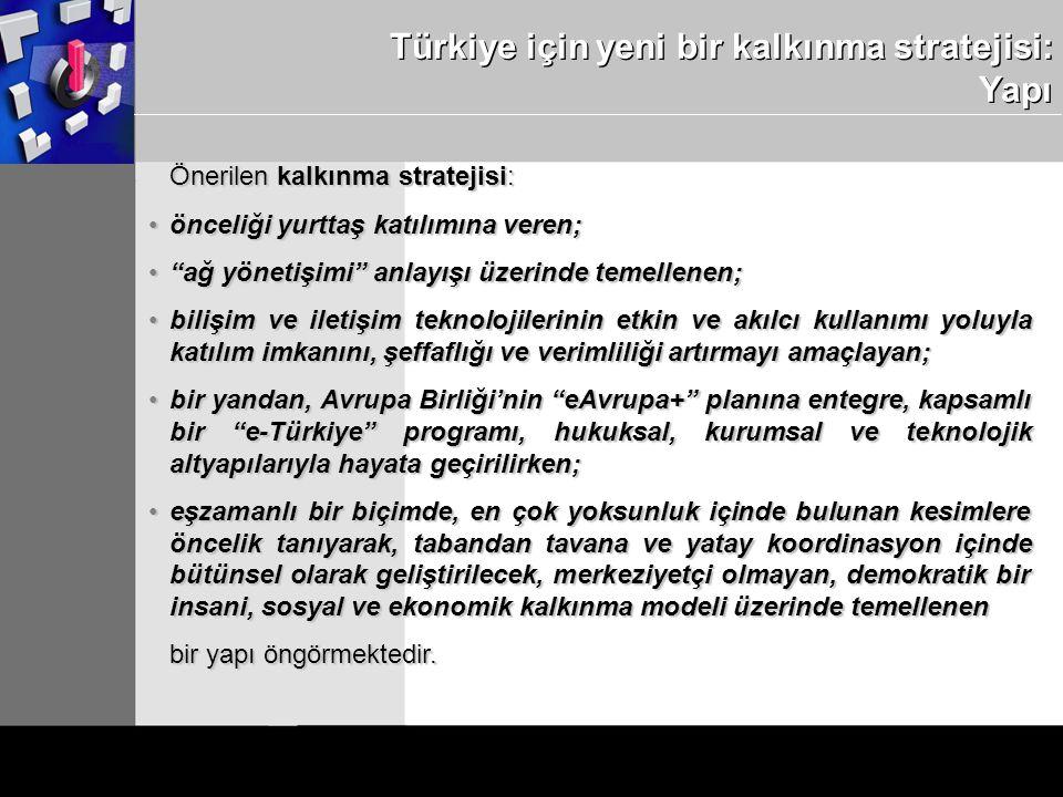 Türkiye için yeni bir kalkınma stratejisi: Yapı Önerilen kalkınma stratejisi: önceliği yurttaş katılımına veren;önceliği yurttaş katılımına veren; ağ yönetişimi anlayışı üzerinde temellenen; ağ yönetişimi anlayışı üzerinde temellenen; bilişim ve iletişim teknolojilerinin etkin ve akılcı kullanımı yoluyla katılım imkanını, şeffaflığı ve verimliliği artırmayı amaçlayan;bilişim ve iletişim teknolojilerinin etkin ve akılcı kullanımı yoluyla katılım imkanını, şeffaflığı ve verimliliği artırmayı amaçlayan; bir yandan, Avrupa Birliği'nin eAvrupa+ planına entegre, kapsamlı bir e-Türkiye programı, hukuksal, kurumsal ve teknolojik altyapılarıyla hayata geçirilirken;bir yandan, Avrupa Birliği'nin eAvrupa+ planına entegre, kapsamlı bir e-Türkiye programı, hukuksal, kurumsal ve teknolojik altyapılarıyla hayata geçirilirken; eşzamanlı bir biçimde, en çok yoksunluk içinde bulunan kesimlere öncelik tanıyarak, tabandan tavana ve yatay koordinasyon içinde bütünsel olarak geliştirilecek, merkeziyetçi olmayan, demokratik bir insani, sosyal ve ekonomik kalkınma modeli üzerinde temelleneneşzamanlı bir biçimde, en çok yoksunluk içinde bulunan kesimlere öncelik tanıyarak, tabandan tavana ve yatay koordinasyon içinde bütünsel olarak geliştirilecek, merkeziyetçi olmayan, demokratik bir insani, sosyal ve ekonomik kalkınma modeli üzerinde temellenen bir yapı öngörmektedir.