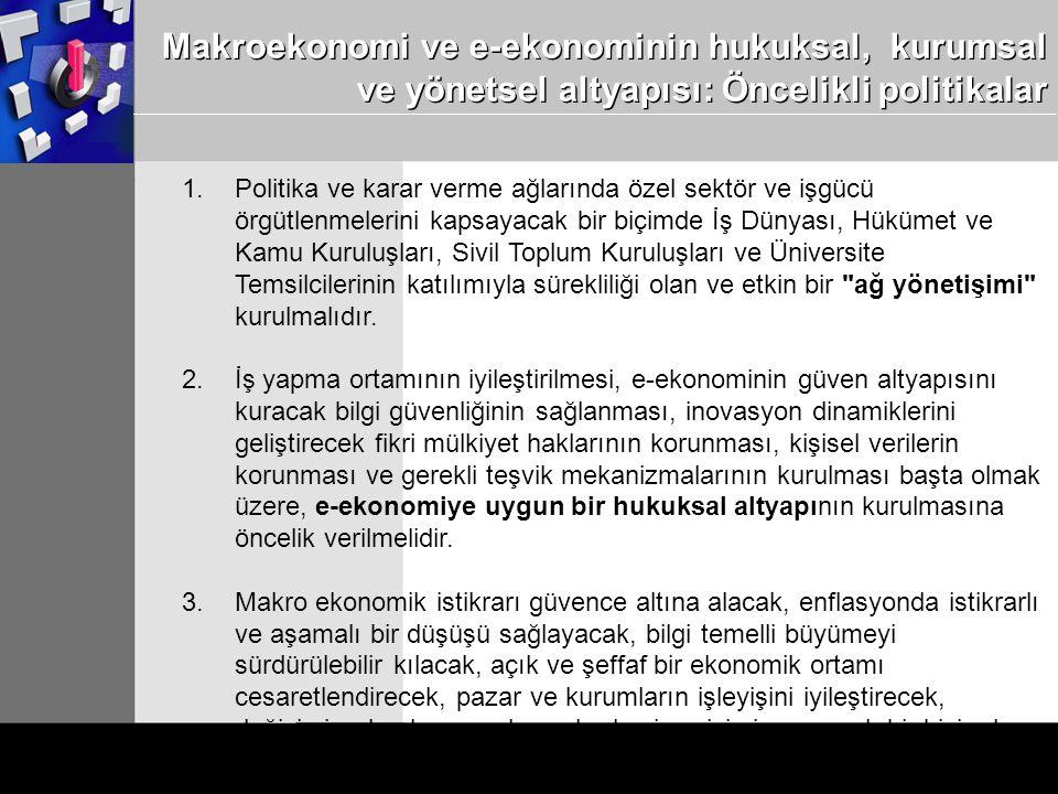 Makroekonomi ve e-ekonominin hukuksal, kurumsal ve yönetsel altyapısı: Öncelikli politikalar 1.