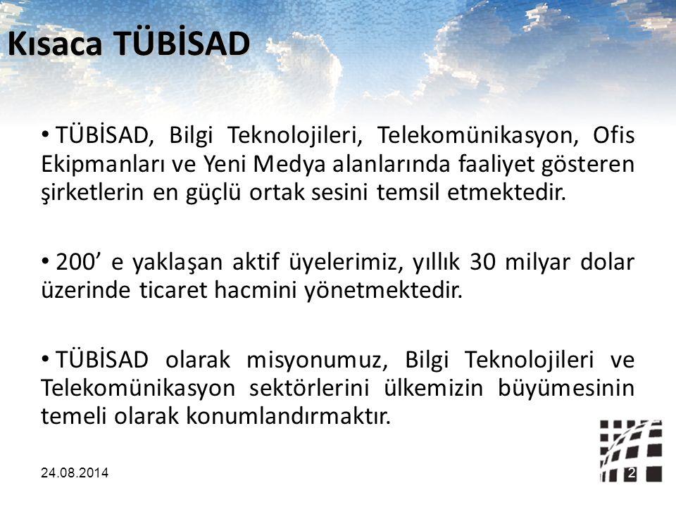 Önceliklerimiz Sektörümüzün karlı olarak büyümesi Sağlıklı rekabet şartlarının korunması Teknoloji ürün, hizmet ve istihdamının artması Uluslararası standartlara uyumluluğun sağlanması Türkiye e-dönüşüm performansının artması 24.08.20143