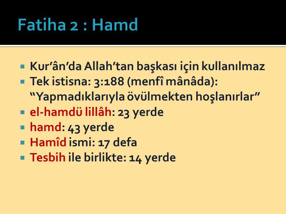  Kur'ân'da Allah'tan başkası için kullanılmaz  Tek istisna: 3:188 (menfî mânâda): Yapmadıklarıyla övülmekten hoşlanırlar  el-hamdü lillâh: 23 yerde  hamd: 43 yerde  Hamîd ismi: 17 defa  Tesbih ile birlikte: 14 yerde