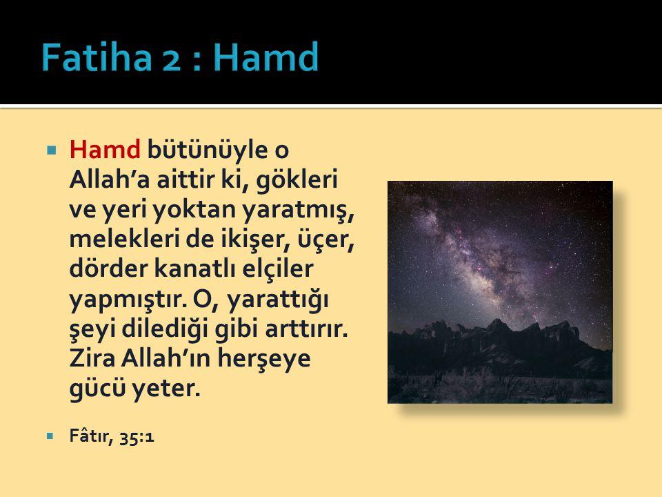  Hamd bütünüyle o Allah'a aittir ki, gökleri ve yeri yoktan yaratmış, melekleri de ikişer, üçer, dörder kanatlı elçiler yapmıştır.