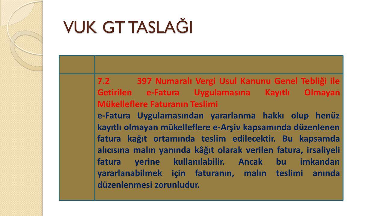 VUK GT TASLA Ğ I 7.2 397 Numaralı Vergi Usul Kanunu Genel Tebliği ile Getirilen e-Fatura Uygulamasına Kayıtlı Olmayan Mükelleflere Faturanın Teslimi e