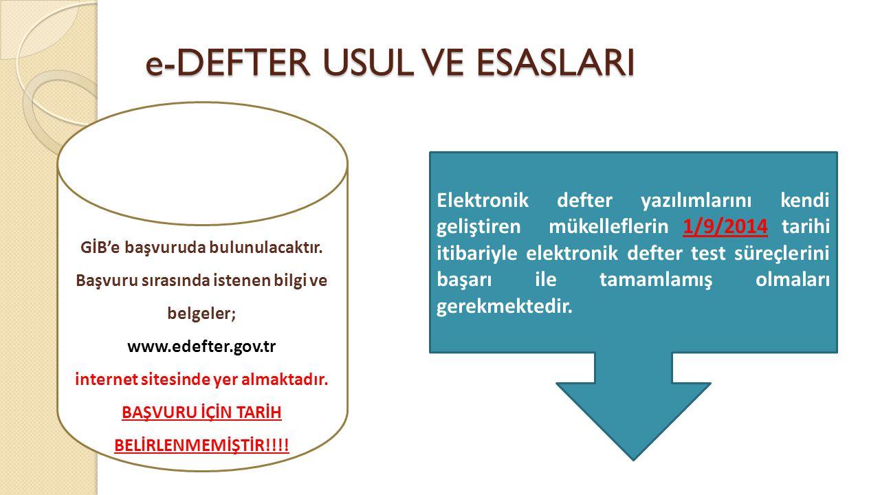 e-DEFTER USUL VE ESASLARI GİB'e başvuruda bulunulacaktır. Başvuru sırasında istenen bilgi ve belgeler; www.edefter.gov.tr internet sitesinde yer almak